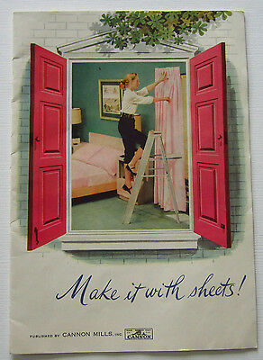 "Vintage 1950s Crafting Pattern Booklet ""Make it With Sheets"" Cannon Mills"