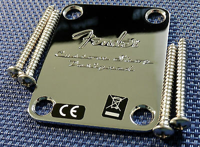 Fender Vintage RI CUSTOM SHOP Strat Tele NECK PLATE 50s Baja Guitar Chrome