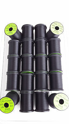 UNI-THREAD 20 spools of 200 yds BLACK 8/0   FLY TYING THREAD