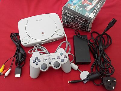 Sony Playstation 1 PSOne slim Console SCPH-102 with 9 games and controller
