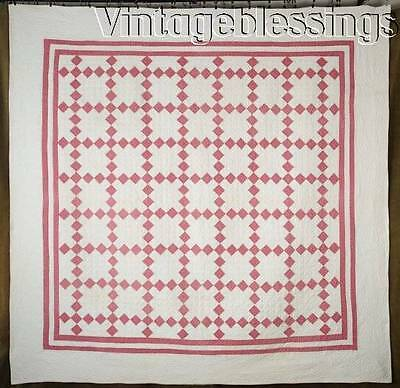Well Quilted Beautiful ANTIQUE c1900 Deep Double Pink & White Irish Chain QUILT