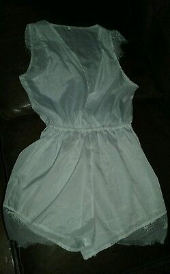 vintage white satin lacy all in one cross over front used item look sheer medium