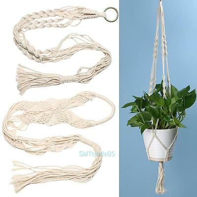 Vintage Macrame Plant Hanger Garden Flower Pot Holder 4 Legs Hanging Rope Basket