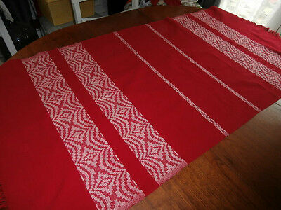 Vintage Red White Huck Woven Cotton Swedish Table Runner Scarf 60 by 29 inches
