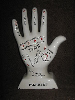 Palmistry Hand New White Porclaine Black &Red Printing in Medical office also