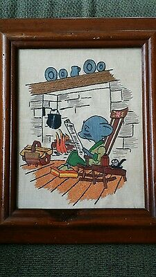 Vintage Framed Hand Embroidered Father Mouse Fireplace Reading Newspaper Textile