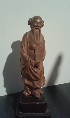 Vintage Chinese Wooden Hand Carved Figure 18 cm / 7 inch