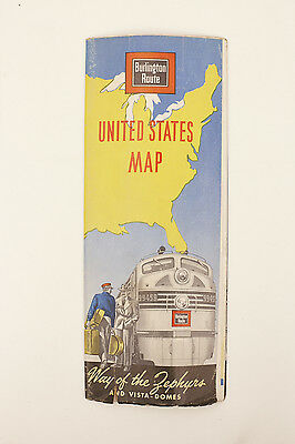 Burlington Route Railway Railroad United States Map Vacation Guide 1953