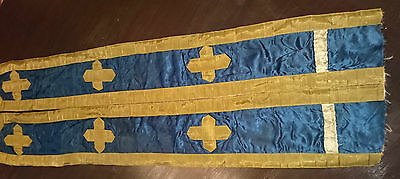 19C. ANTIQUE Russian ORTHODOX PRIEST CHURCH VESTMENT CHASUBLE GOLD THREAD
