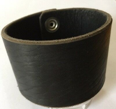 "Black Wrap Cuff - 2"" Wide - Handmade Latigo Leather Wristband Handmade In USA !"