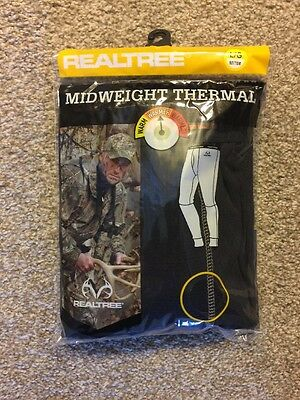 NEW Realtree Xtra Black Midweight Thermal Warmer Base Layer Size LARGE Bottom