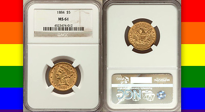 1884 NGC MS61 Pop 36/78 at PCGS! RARE Sleeper PQ $5 Gold Liberty Half Eagle