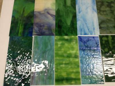YOUGHIOGHENY GLASS 14 Pieces 4x8  Land Sea Sky Mix (#2) Stained glass Mosaics