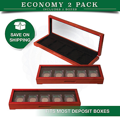 2 Certified Coins Oak Boxes Display Case 5 Graded NGC PCGS Slabs Holders Safe US