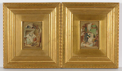 """Eugen Klimsch """"Family Scenes"""", Two Small Watercolors, 2nd Half of 19th Century"""