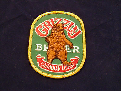 "Grizzly Canadian Lager Beer Patch Embroidered  ~ vintage 3-3/4"" ~L@@K~"