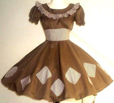 DB9 Brown, brown/white gingham empire square dance dress w/gingham skirt patches