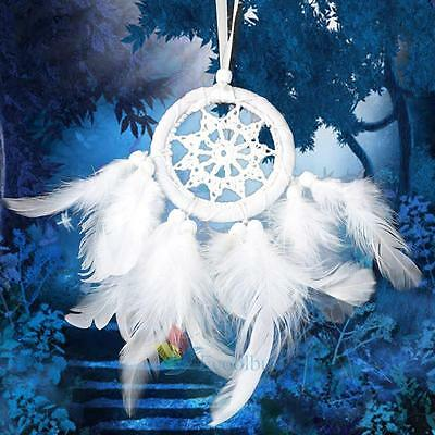 New Cute White Angel Feather Dream Catcher Feather Bead Hanging Decor Ornament A