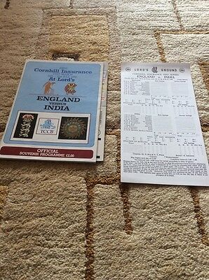1990 - England v India, 1st Test (Lord's) Match Programme.