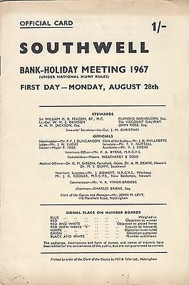 Racecard - Southwell 28th August 1967 Bank-Holiday Meeting 1st Day