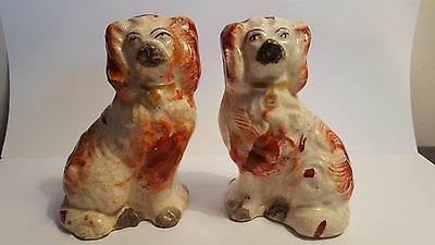Miniature Pair Antique English Victorian Staffordshire Pottery  Spaniel Dogs