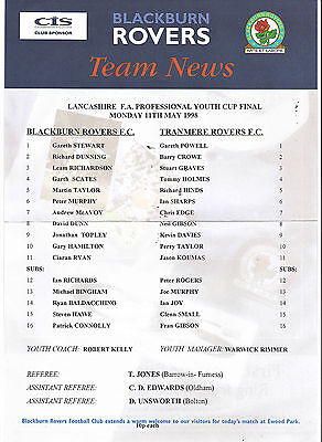 Teamsheet - Blackburn Rovers Youth v Tranmere Rovers Youth 1997/8