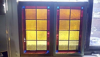 2 Antique Leaded Stained Glass Window Sash