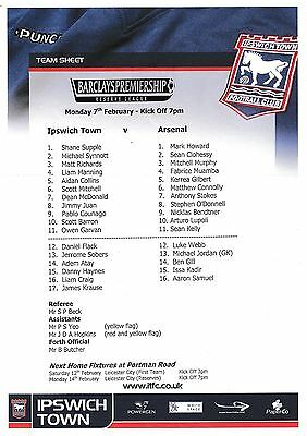 Teamsheet - Ipswich Town Reserves v Arsenal Reserves (Undated - 7 February)