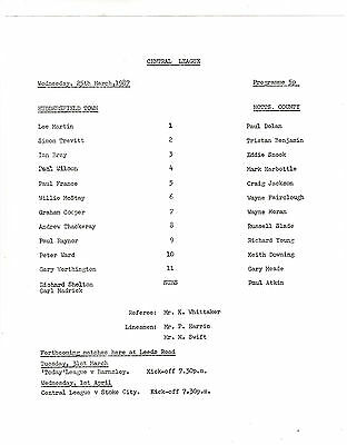 Teamsheet - Huddersfield Town Reserves v Notts County Reserves 1986/7
