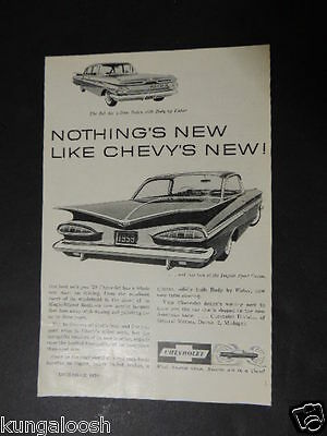 1958 Nothing's New Like Chevy's New! 1959 Model Car Vintage Art Ad