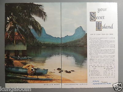 1957 Pan American Airline-Your Secret Island- 2 Page Vintage Ad