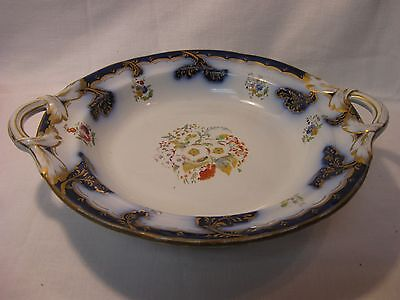 1800's Adams & Sons Flow Blue Footed Serving Bowl Dish with Handles