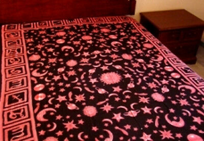 """Zodiac Tapestry Light Bedspread,Throw-Red Stars-Moon Wall Hanging, 72""""x108"""" NEW"""