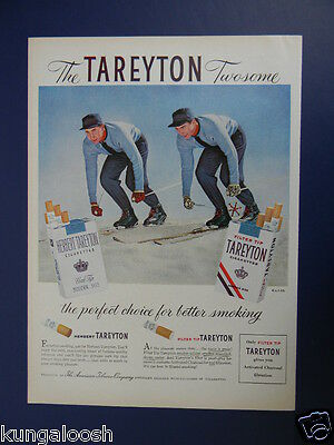 1956 Tareyton Cigarettes Twosome Vintage Skiers On The Slope Art Ad