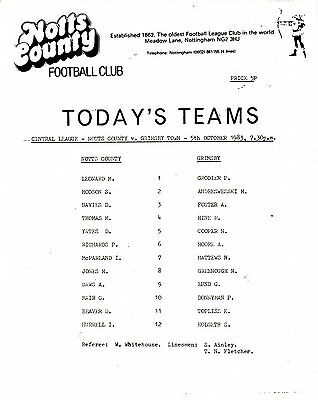 Teamsheet - Notts County Reserves v Grimsby Town Reserves 1983/4