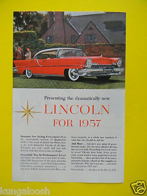 1956 Presenting The Dramatically New Lincoln For 1957 ~ Car Sales Photo Art Ad