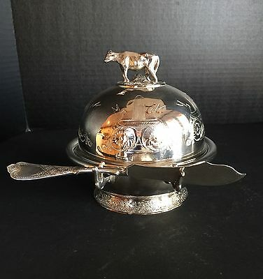 Antique Silver Plate Butter Dish With Cow Finial