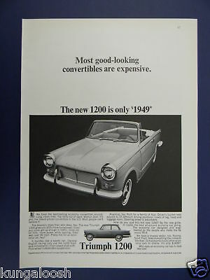 1965 Triumph 1200 Convertible Car Photo With Price Ad