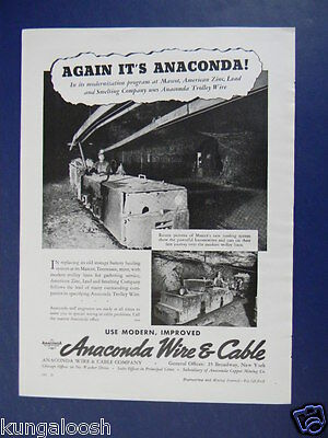 1939 Anaconda Wire And Cable Company Mining Equipment Sales Photo Ad