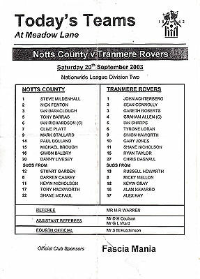 Teamsheet - Notts County v Tranmere Rovers 2003/4