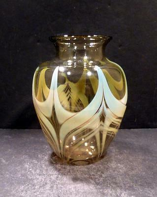 Studio Art Glass Amber and Green Vase, Signed Rochester Folk Art Guild - MINT