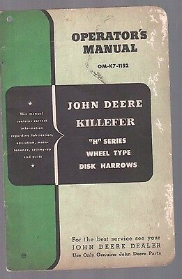 1952 John Deere Tractor H Series Wheel Disk  Equipment Operators Manual Catalog