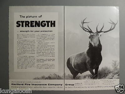 1957 Hartford Stag-Picture Of Strength...insurance Co. 2 Page Vintage Ad