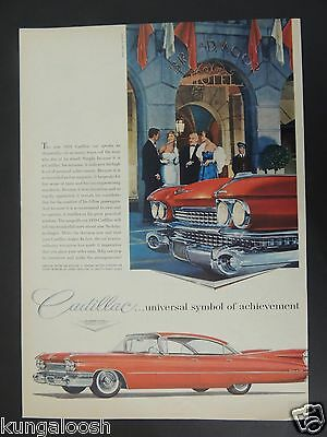 1958 Cadillac...universal Symbol Of Achievement 1959 Model Car Vintage Art Ad