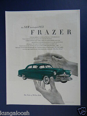 1950 Ad For The New Hand Crafted 1951 Frazer, Car Sales Art Ad