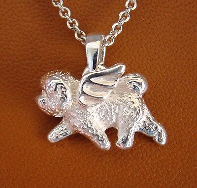 SMALL Bichon Frise Angel Pendant