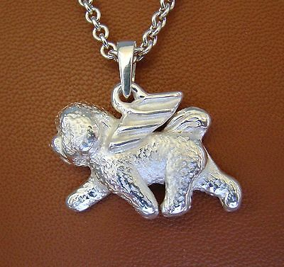 LARGE Bichon Frise Angel Pendant