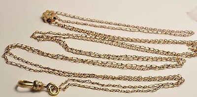 Antique 14k  light weight  gold filled pocket watch double slide chain 52 inch