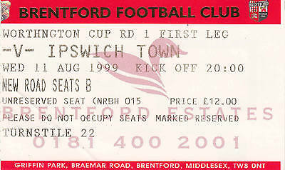 Ticket - Brentford v Ipswich Town 11.08.99 League Cup