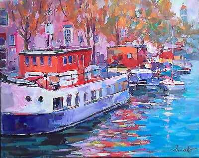 """Original acrylic/oil painting """"Amsterdam boats.Fall reflections"""" signed Dima K"""